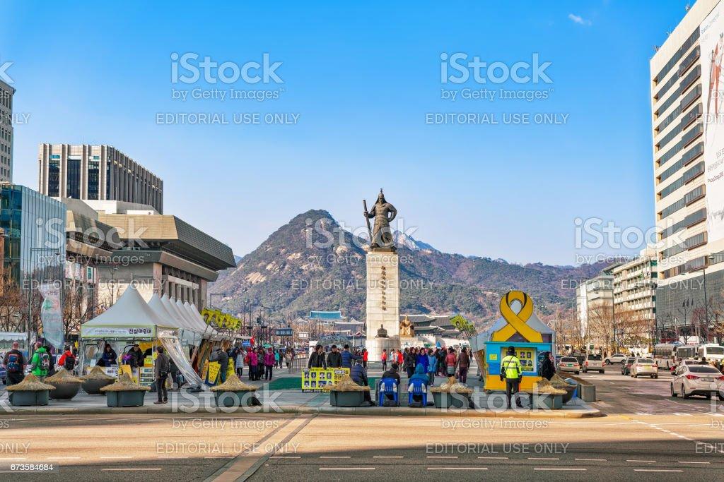Statue of Admiral Yi Sunsin in Gwanghwamun square in Seoul stock photo