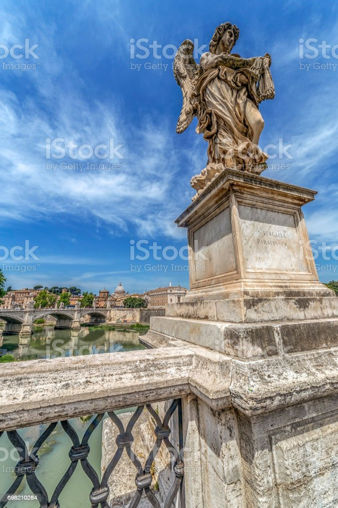 Statue of Agnel from Angel's Bridge stock photo