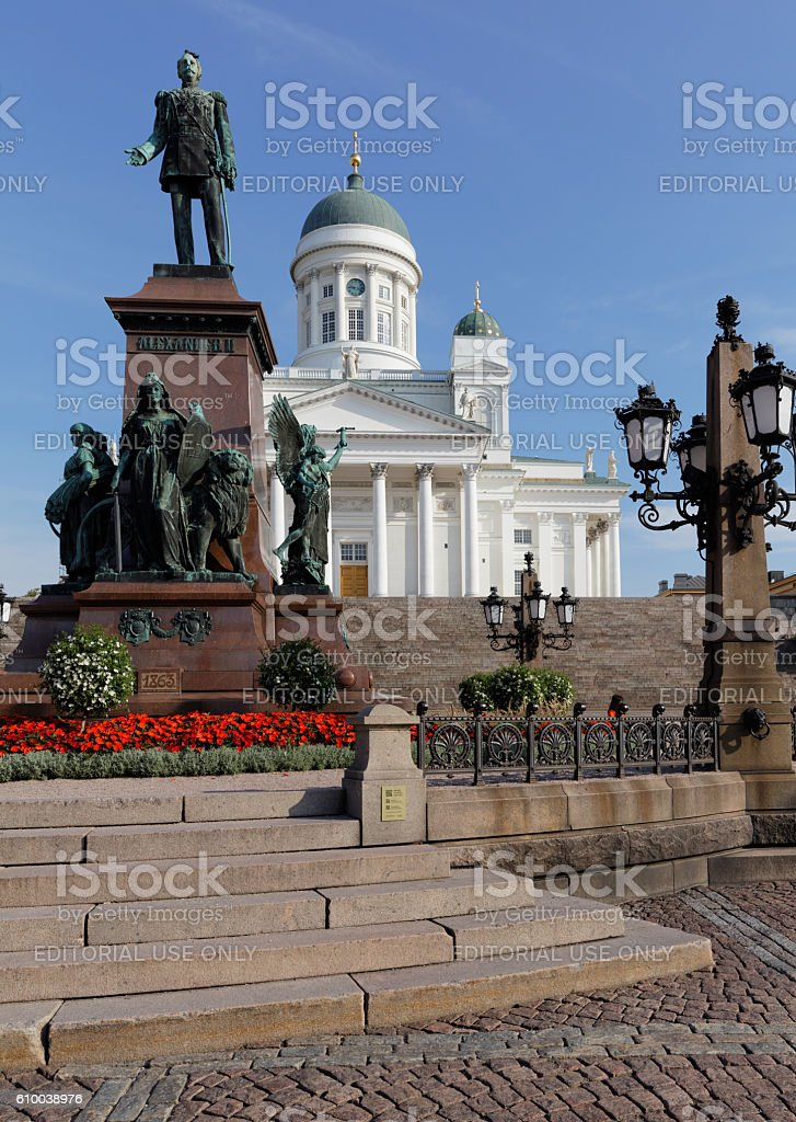 Statue of Alexander II and cathedral in Helsinki, Finland stock photo