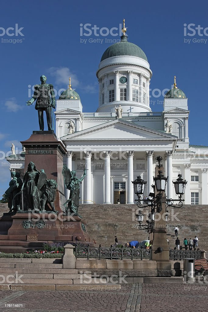 Statue of Alexander II & Helsinki Cathedral stock photo