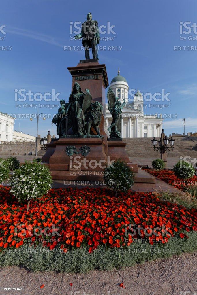 Statue of Alexander II in Helsinki, Finland stock photo
