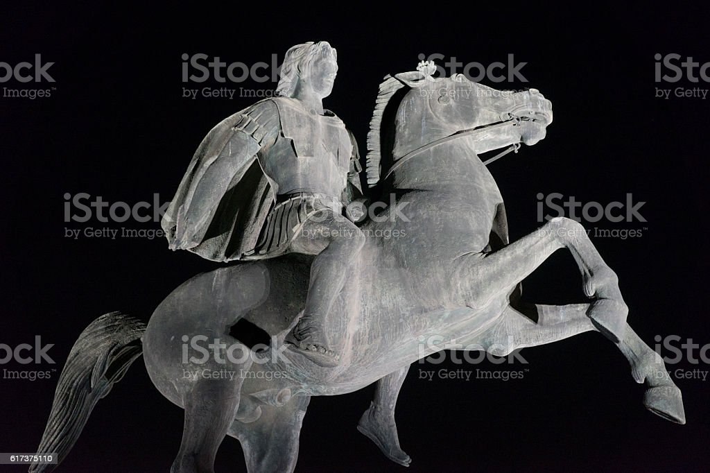 Statue of Alexander the Great at night. Thessaloniki city, Greec stock photo
