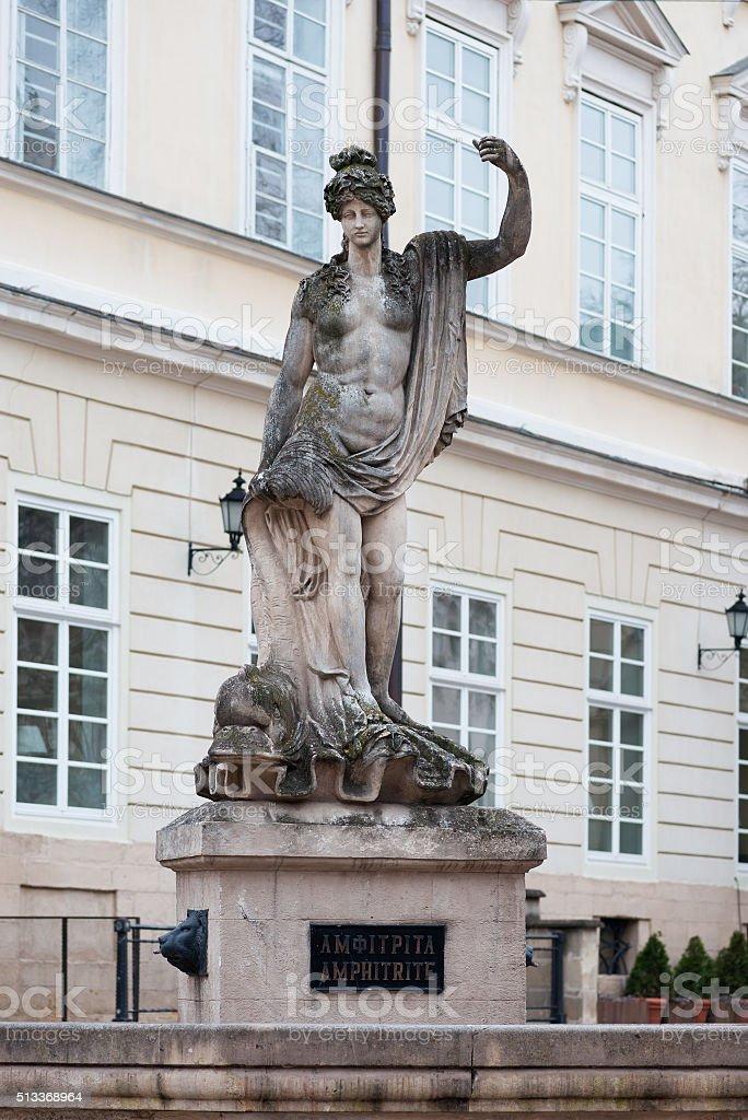 Statue of Amphitrite at the Market Square in Lviv, Ukraine stock photo