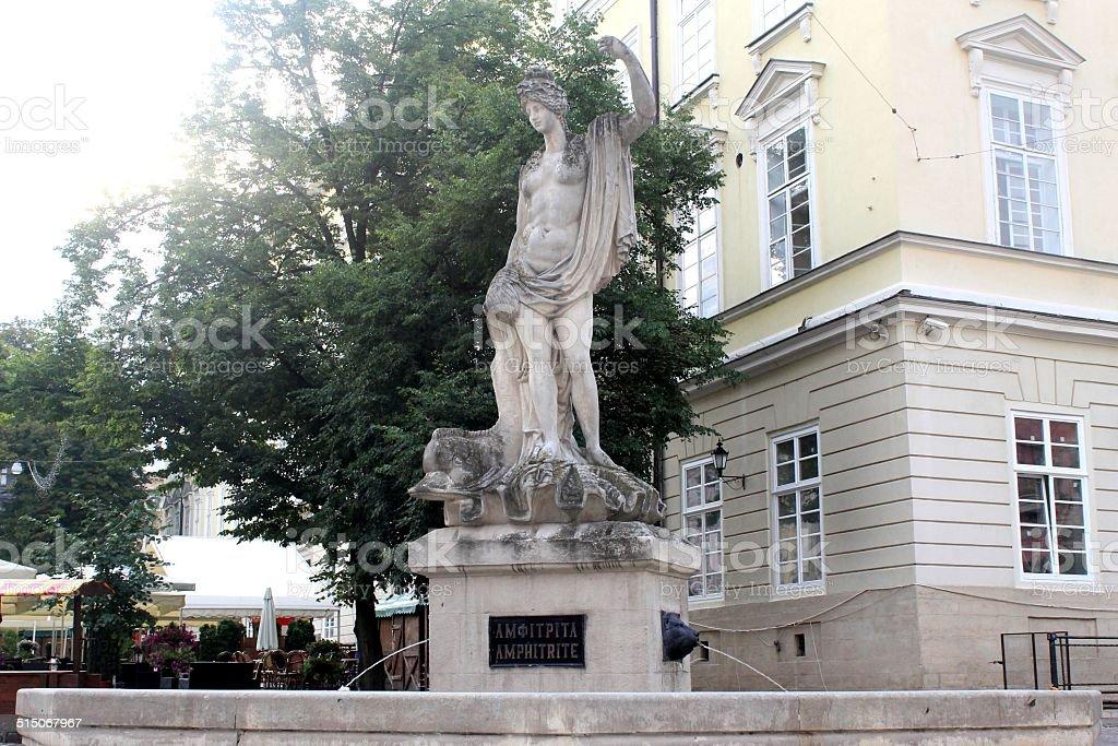Statue of Amphitrite in Lviv stock photo