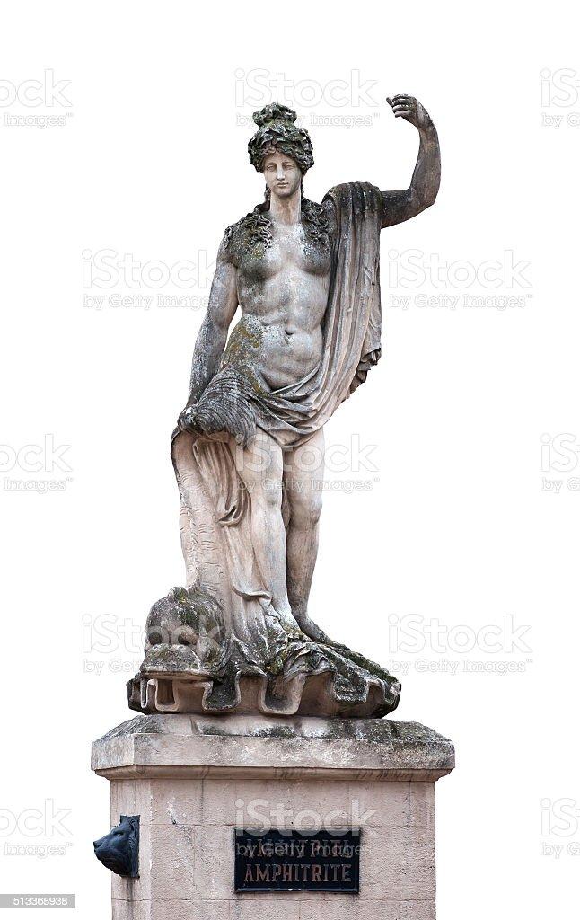 Statue of Amphitrite  sea-goddess isolated on white stock photo