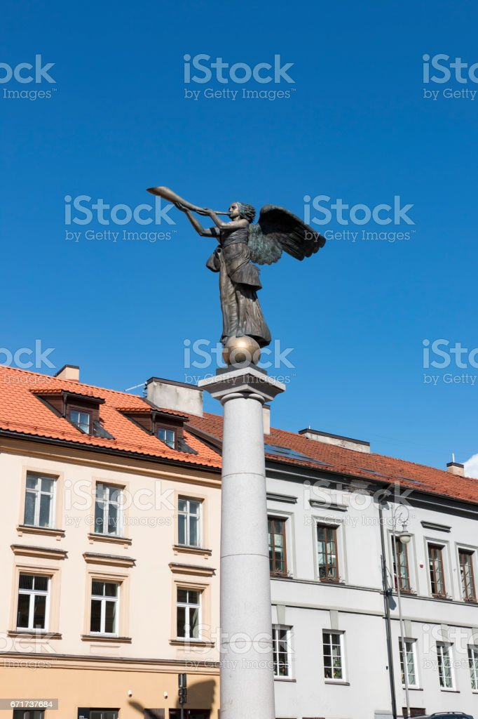 VILNIUS, LITHUANIA . Statue of an angel at Uzupio, a bohemian district in Vilnius, Lithuania. stock photo