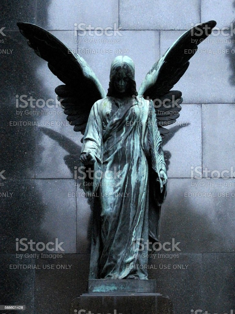 Statue of an Angel on Powązki Cementary stock photo