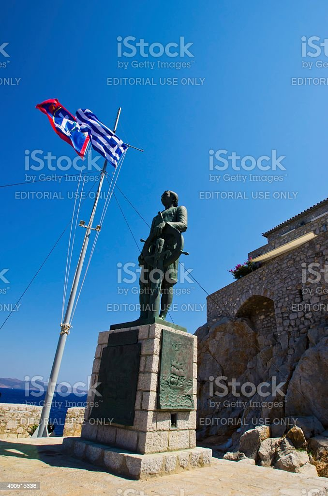 Statue of Andreas Miaoulis, Hydra stock photo