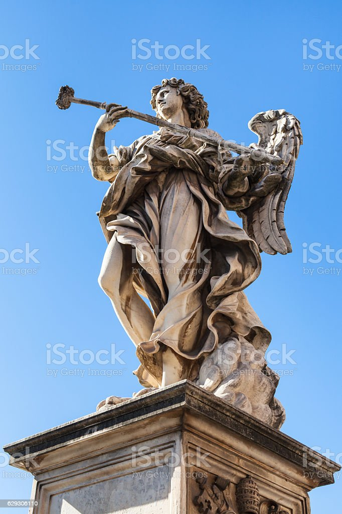 statue of Angel close up on Ponte Sant Angelo stock photo