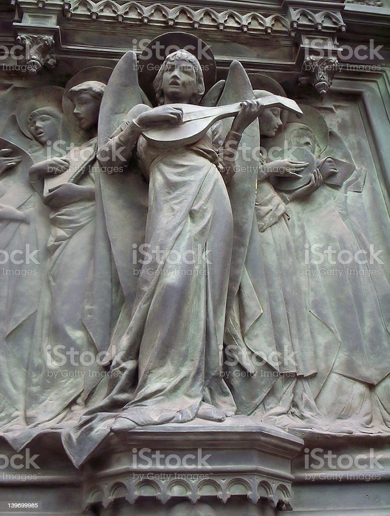 Statue of Angel with lute royalty-free stock photo