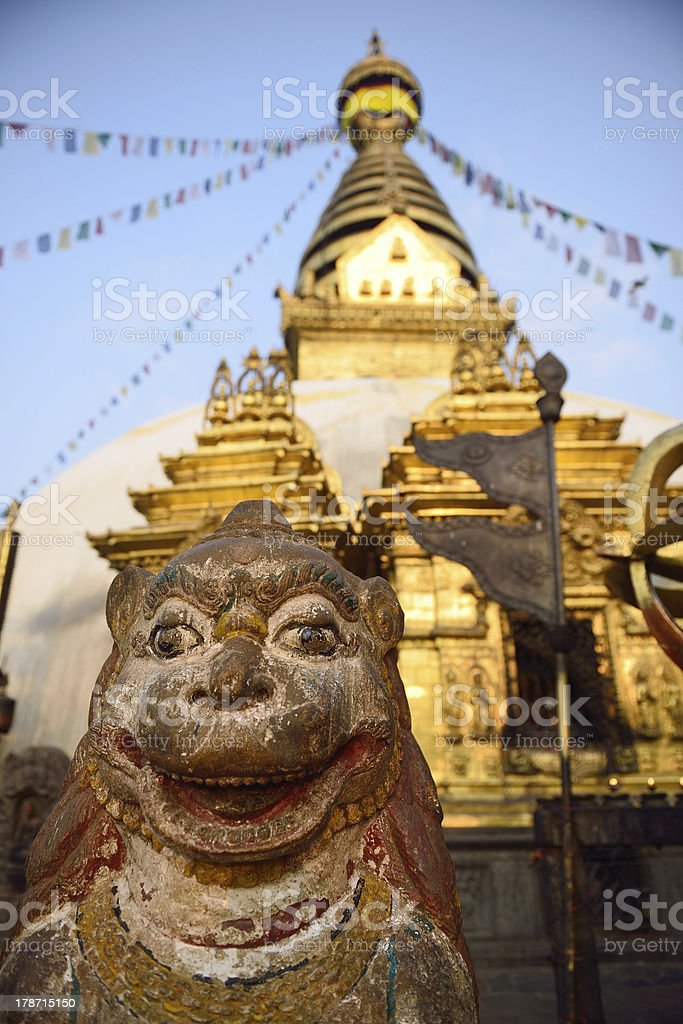 statue of animal is located at the Swayambhunath Temple in royalty-free stock photo