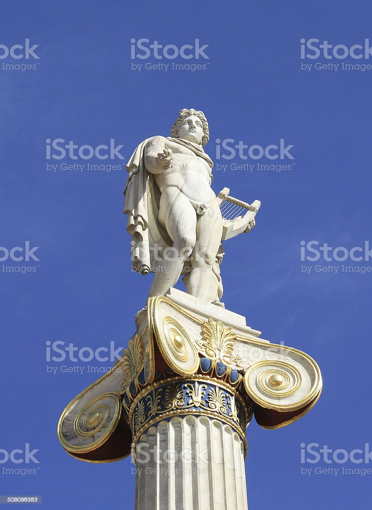 Statue of Apollo in Athens, Greece stock photo