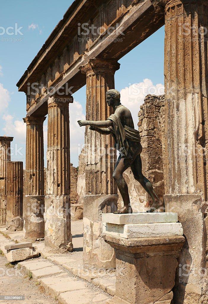 Statue Of Apollo In The Ruins Of Pompei stock photo
