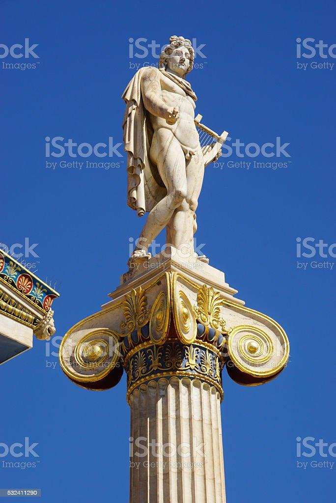 Statue of Apollo,Academy of Athens, Greece stock photo