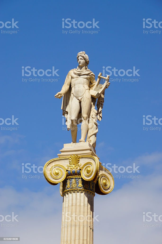 Statue of Apollo,Academy of Athens,Greece stock photo