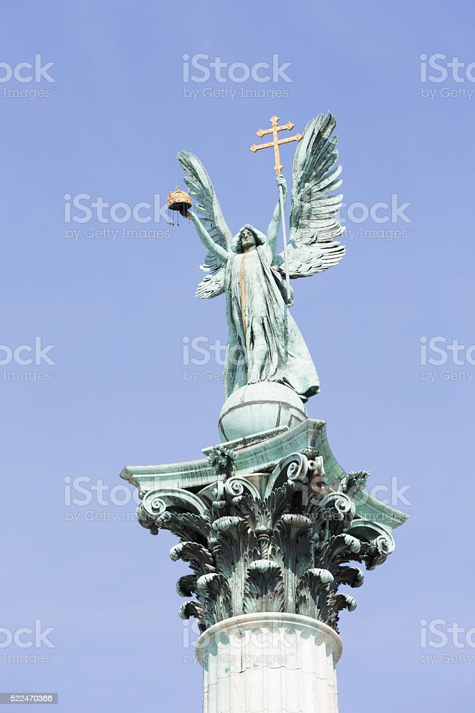 Statue of Archangel Gabriel at Hero's Square in Budapest stock photo