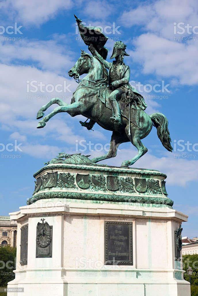 Statue Of Archduke Charles In Vienna, Austria stock photo