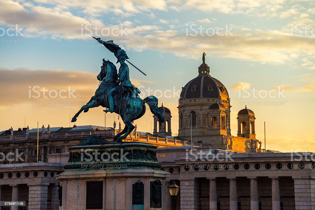 Statue of Archduke Charles in Vienna stock photo