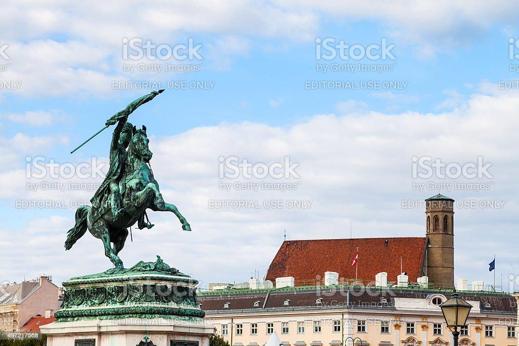 statue of Archduke Charles on Heldenplatz square stock photo