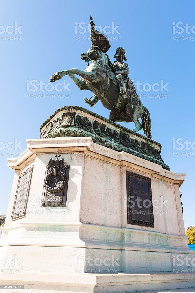 Statue of Archduke Charles on Heldenplatz, Vienna stock photo