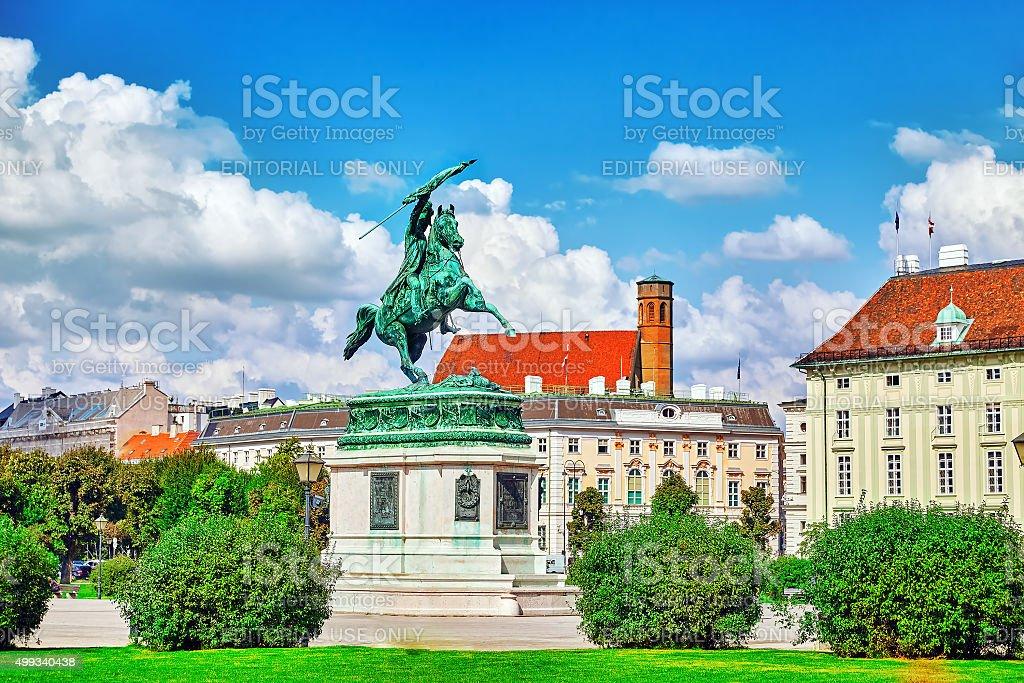 Statue of Archduke Karl-Ludwig-John on Heldenplatz. stock photo