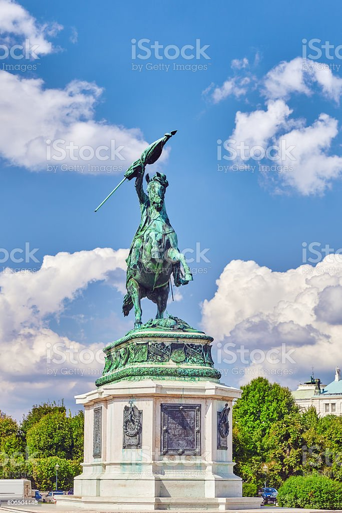 Statue of Archduke Karl-Ludwig-John on Heldenplatz. Vienna. stock photo