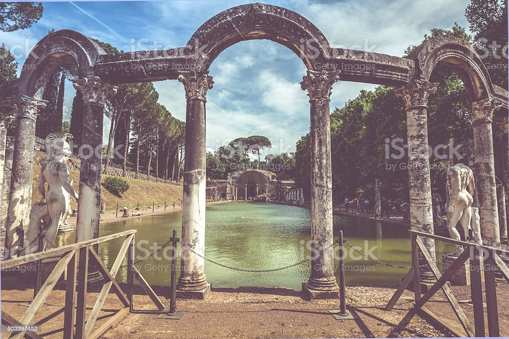 Statue of Ares at Hadrian's Villa, in Rome stock photo