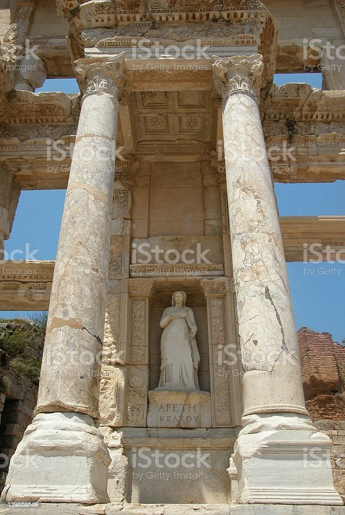 Statue of Arete at Celcus Library in Ephesus, Turkey royalty-free stock photo
