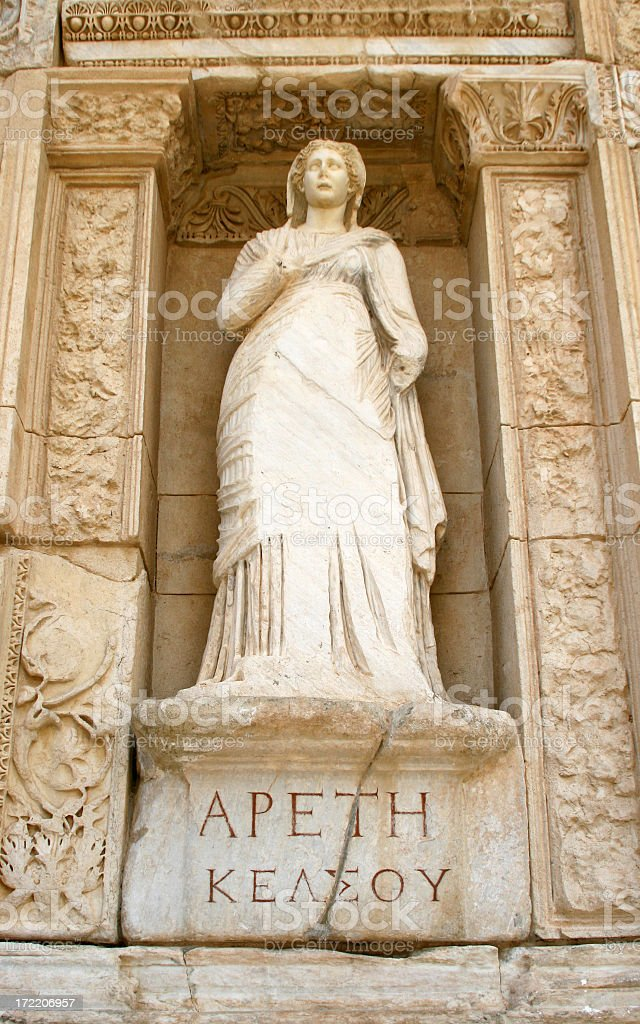 Statue of Arete (Virtue) at the Celsus Library, Ephesus, Turkey royalty-free stock photo