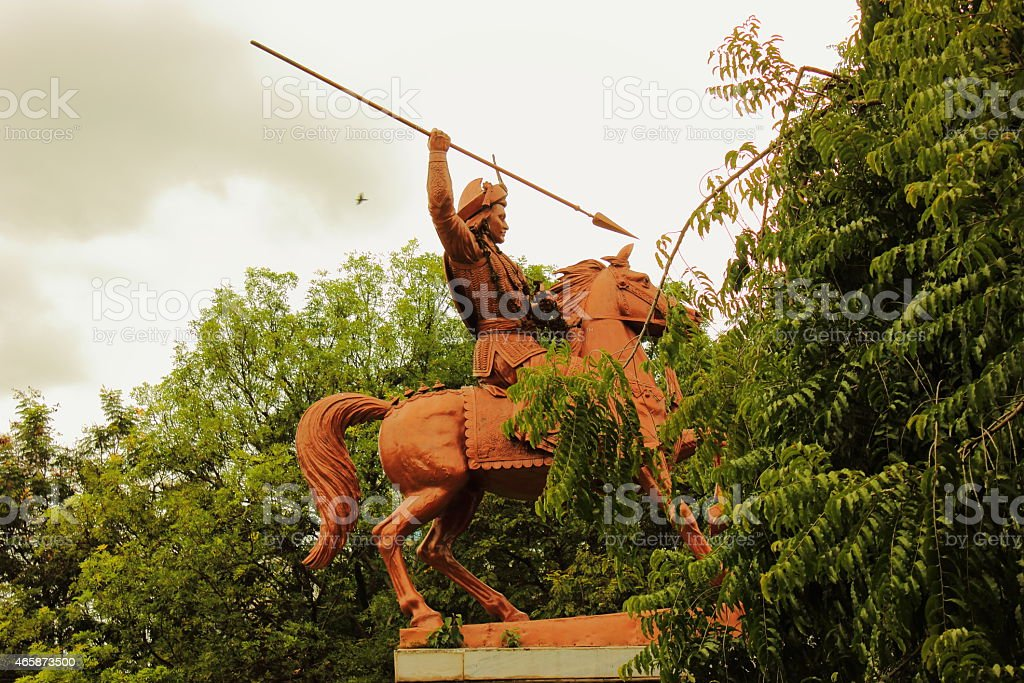 Statue of Baji Rao Peshwa in Shaniwar wada, Pune stock photo
