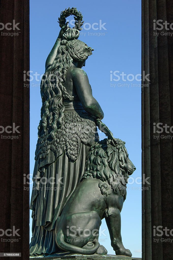 Statue of Bavaria between two columns stock photo