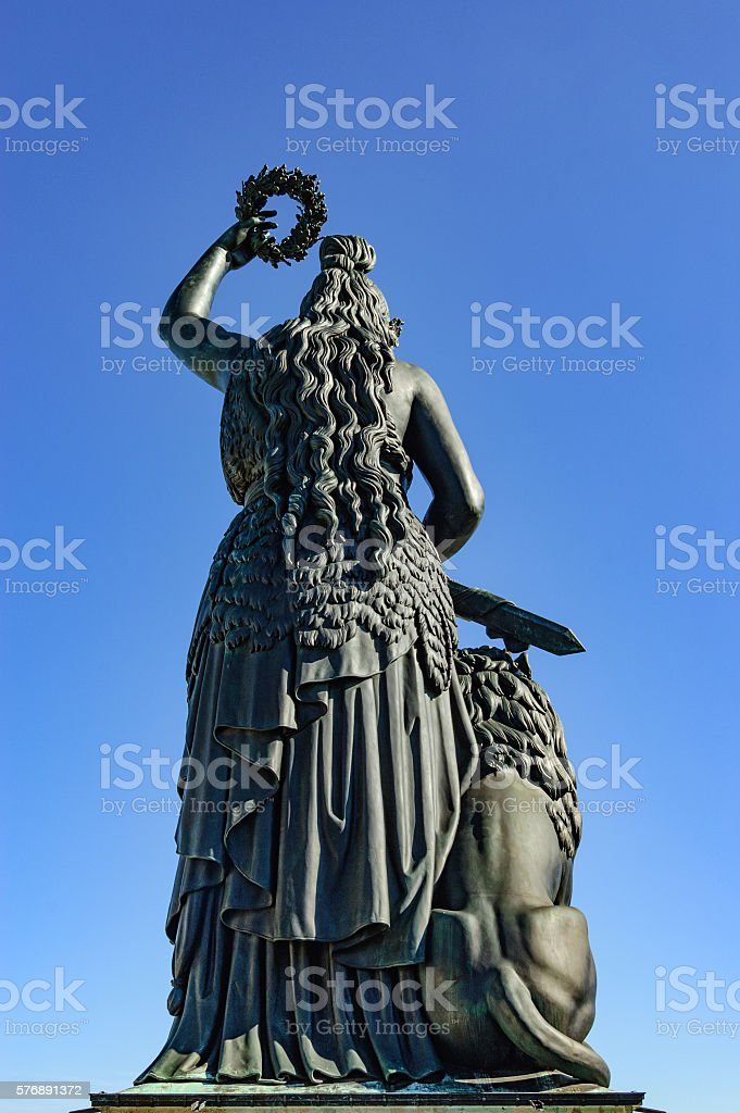 Statue of Bavaria from behind stock photo