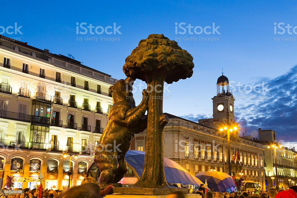 Statue of bear on Puerta del Sol, Madrid, Spain. stock photo
