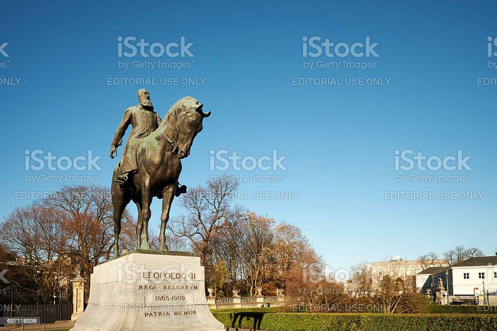 Statue of Belgian King Leopold II stock photo