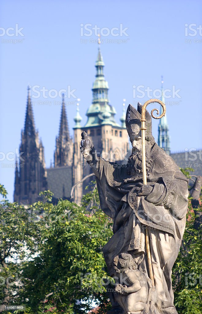 statue of bishop from Prague royalty-free stock photo