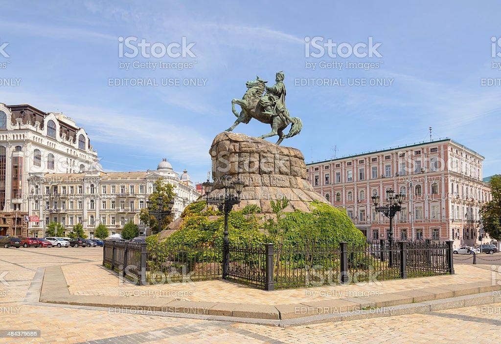 Statue of Bohdan Khmelnytsky in Kiev stock photo