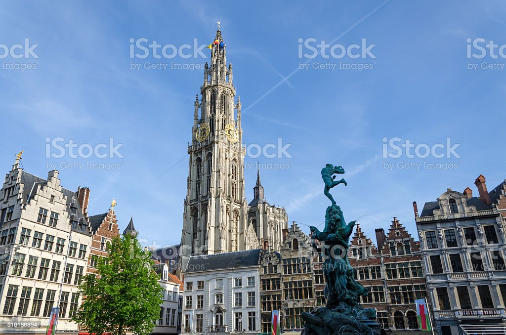 Statue of Brabo at Grand Place in Antwerp stock photo