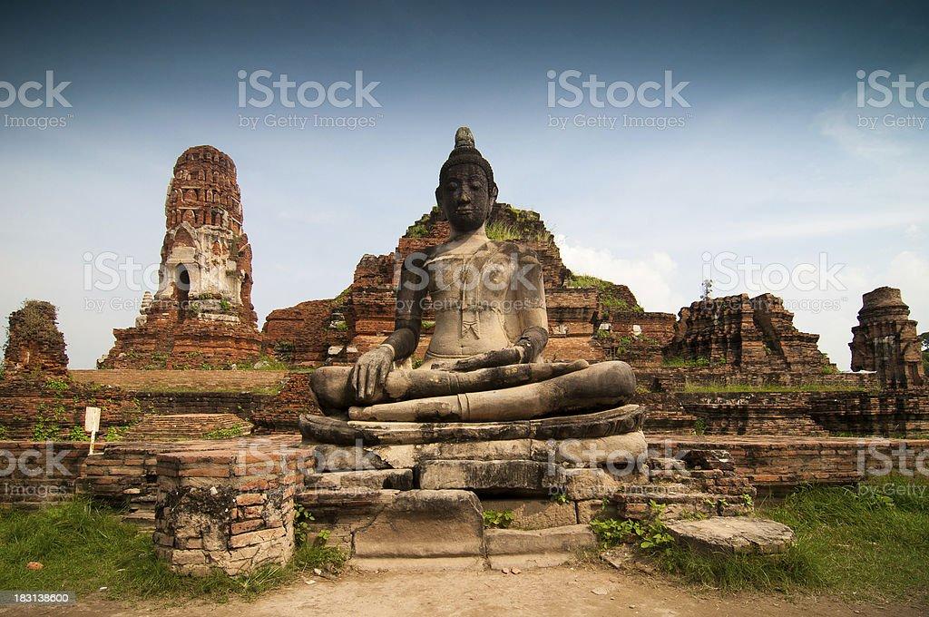 Statue of Buddha at Wat Mahatat, Ayutthaya Thailand. royalty-free stock photo