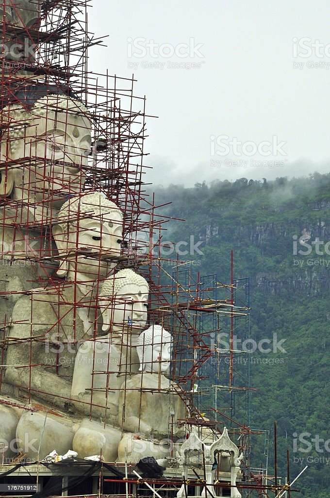 statue of Buddha construction on mountain royalty-free stock photo