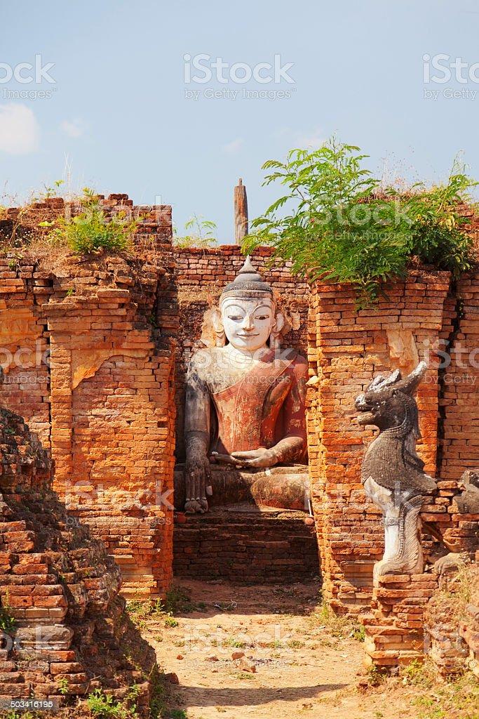 Statue of Buddha in Sagar, Myanmar stock photo