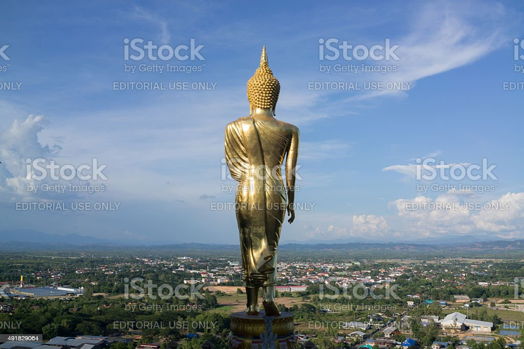 Statue of Buddha on the mountain over Nan province stock photo