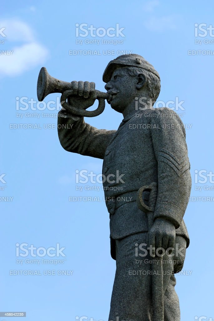 Statue of Bugler at Barlow Knoll, Gettysburg, Pennsylvania royalty-free stock photo