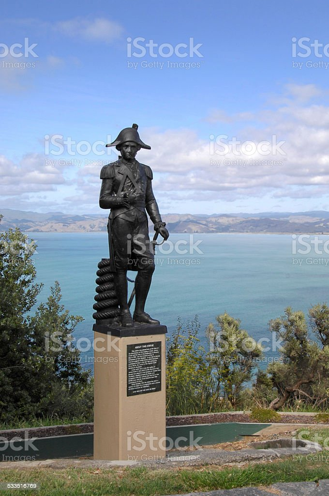 Statue of Captain Cook, Gisborne, New Zealand stock photo