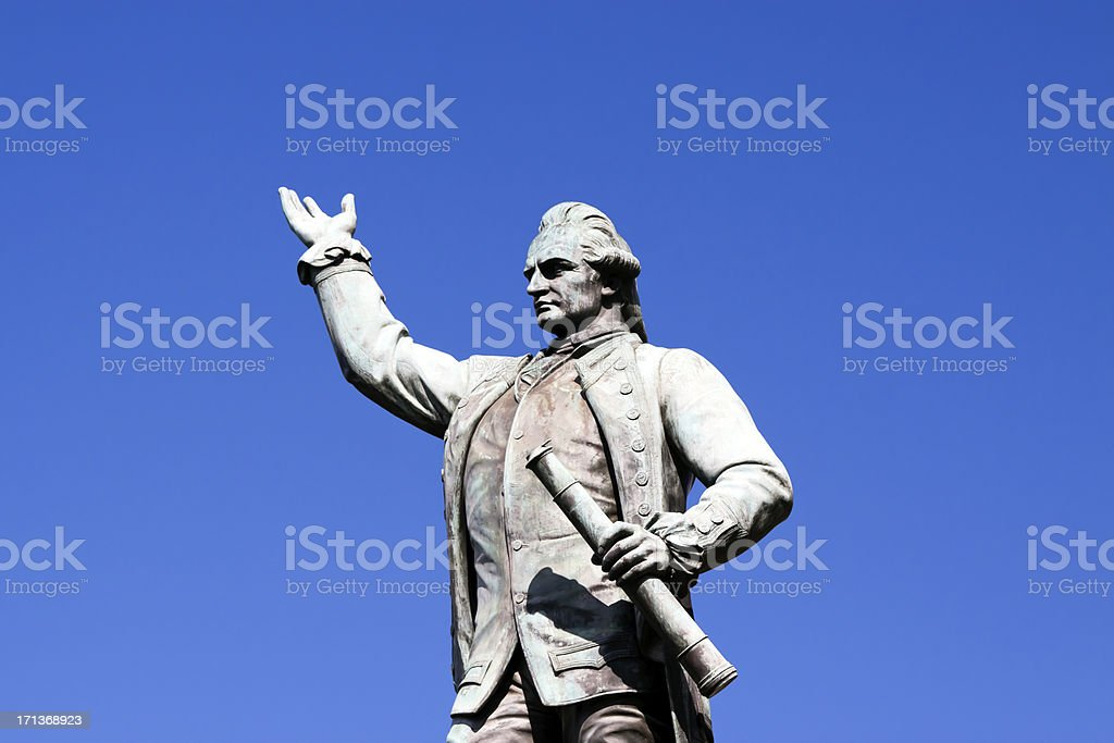 Statue of Captain James Cook against blue sky, copy space royalty-free stock photo