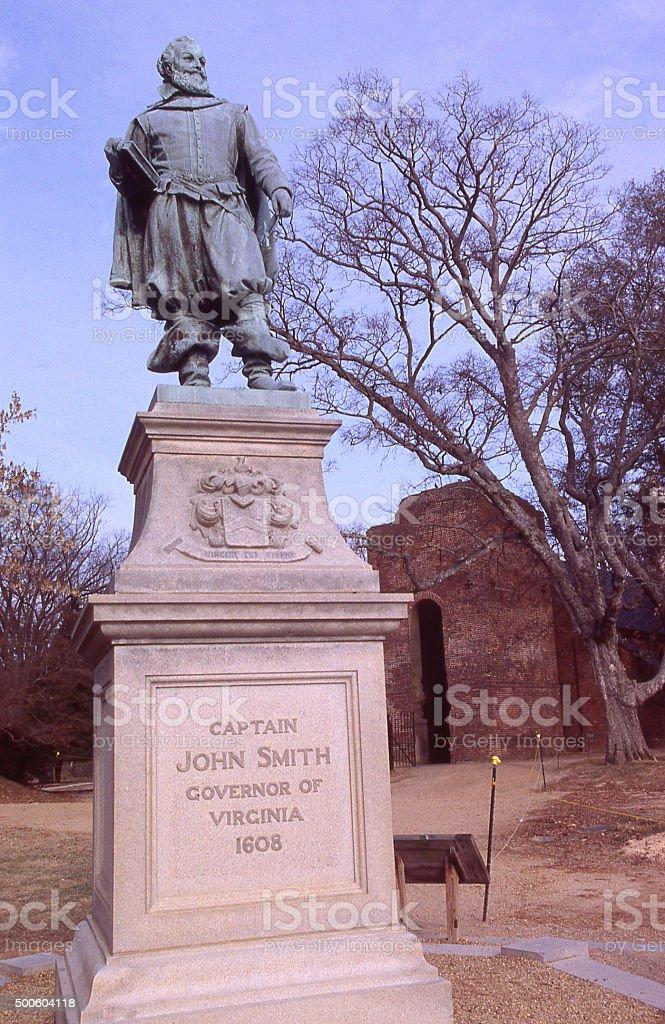 Statue of Captain John Smith at Jamestown Settlement Williamsburg Virginia stock photo