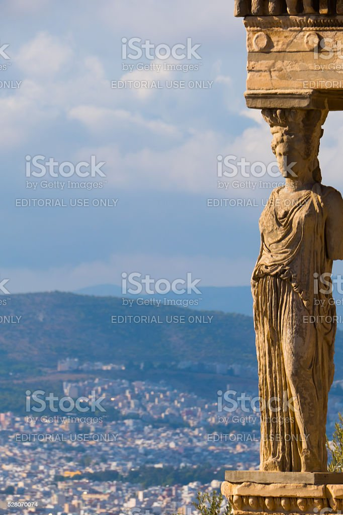 Statue of Caryatids, Parthenon, Athens, Greece-copy space stock photo