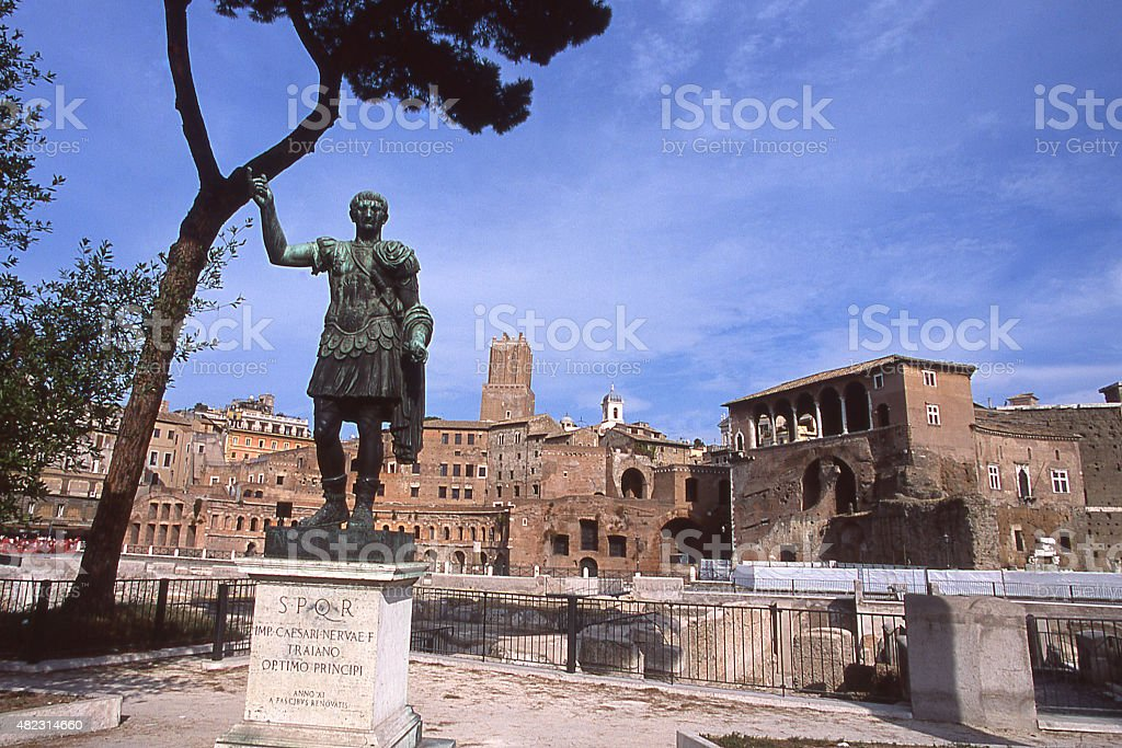 Statue of Ceasar Augustus and the Fori Imperiali Rome Italy stock photo