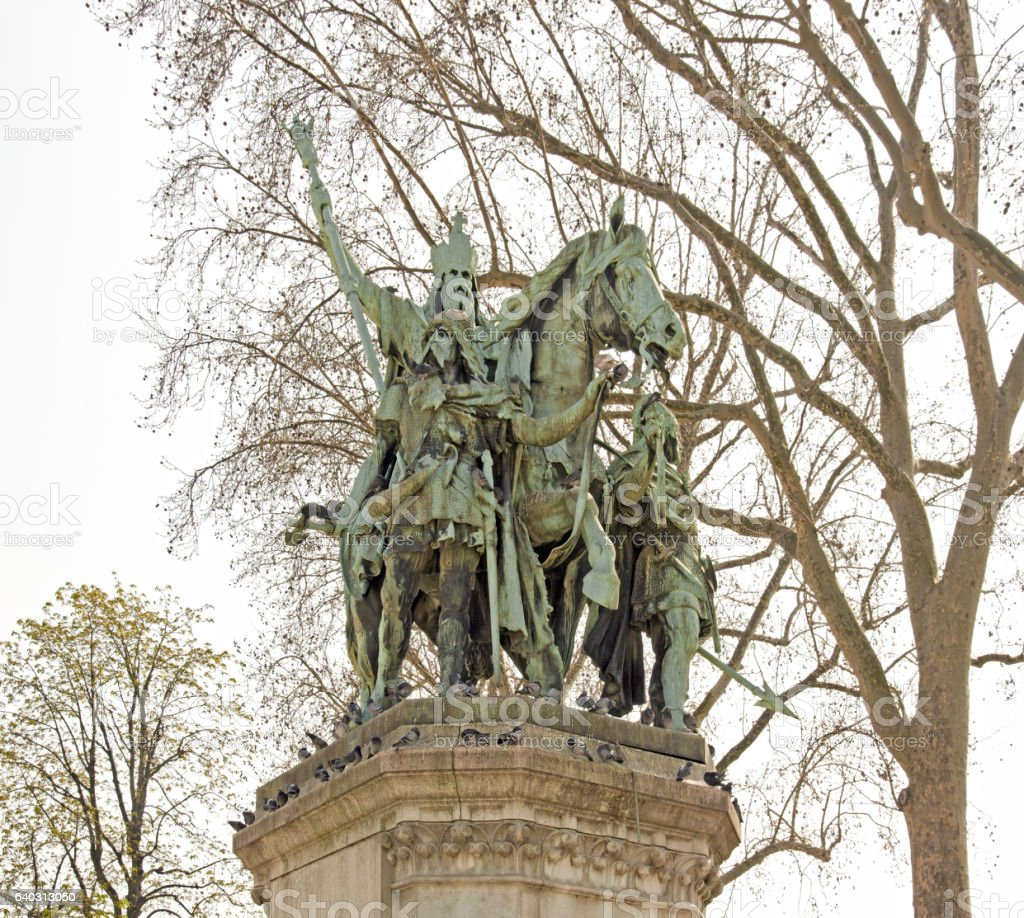 Statue of Charlemagne and his lords (Paris, France) stock photo