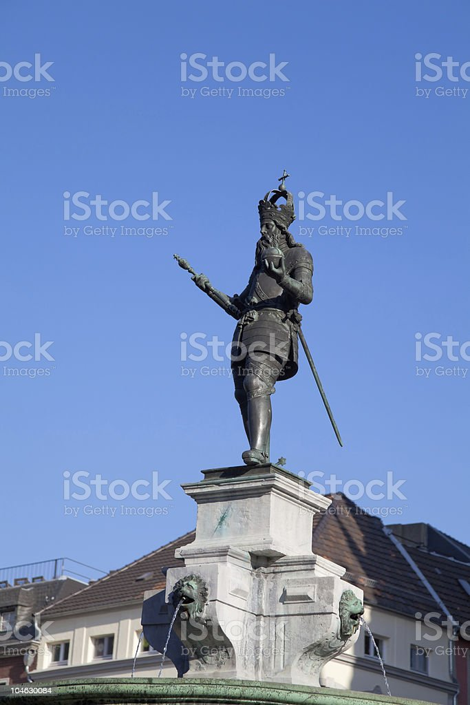 Statue of Charlemagne (Charles the Great) in Aachen stock photo