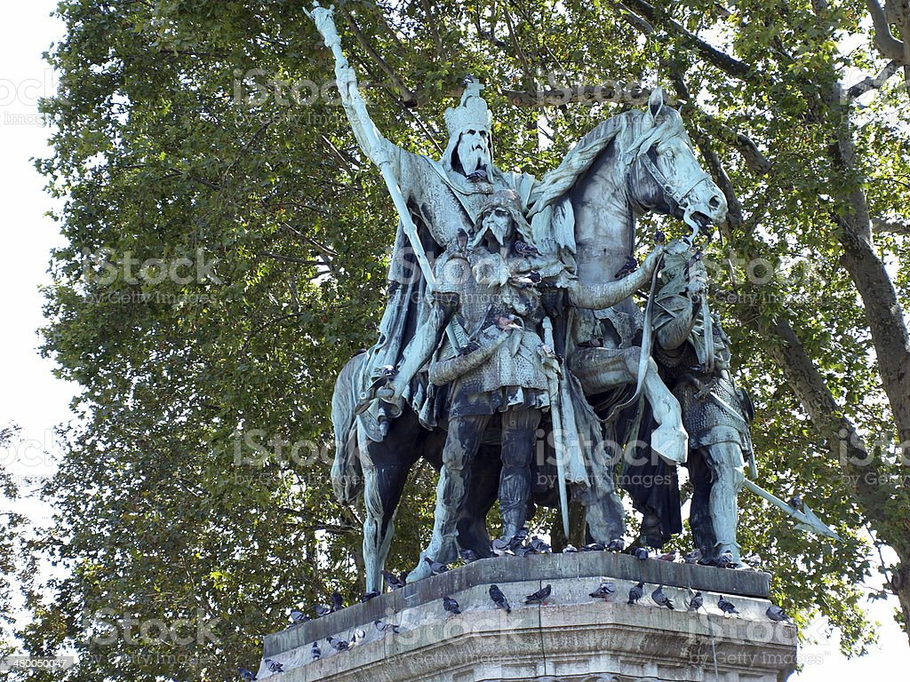 Statue of Charlemagne outside Notre Dame Cathedral in Paris, France stock photo